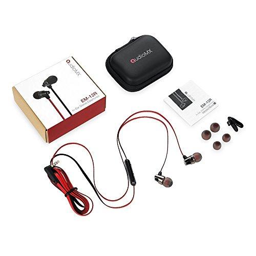 AudioMX カナル型インナーイヤ ステレオイヤホン 音量調節可能 マイク付き ( レッド&ブラック)