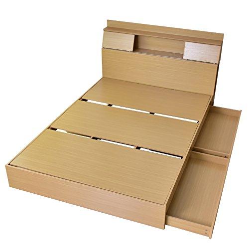 DORIS ベッド ダブル フレーム 収納付き スライド扉 コンセント 組立式 オーク グラード