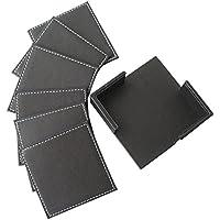 William 高級感 レザーコースター革製 四角 収納付き シンプル キッチン 雑貨 6枚 セット