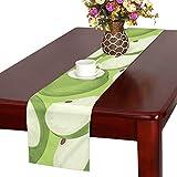 LKCDNG テーブルランナー 緑の地色 果物 フルーツ クロス 食卓カバー 麻綿製 欧米 おしゃれ 16 Inch X 72 Inch (40cm X 182cm) キッチン ダイニング ホーム デコレーション モダン リビング 洗える