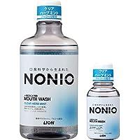 【Amazon.co.jp限定】 NONIO(ノニオ) [医薬部外品] マウスウォッシュ クリアハーブミント 洗口液 600ml +ミニリンス80ml