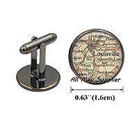 魅力的なカフスボタン ルイビル州ケンタッキー州 カフリンク ルイビル地図 ルイビル地図 ジュエリー 樹脂製カフリンク A0149