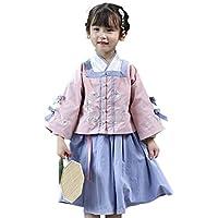 XueXian Hanfu Chinese Style Kids Girls Long Sleeve Tang Suit Tops Dress 2pieces Set