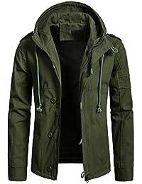 Fly Year-JP メンズロングスリーブボタンダウンルーズシンプルフードコートコート
