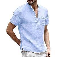 Runcati Mens Linen Short Sleeve T Shirt Casual Summer Beach Cotton Button Up Lightweight Tees Plain Banded Collar Tops Henley Shirts