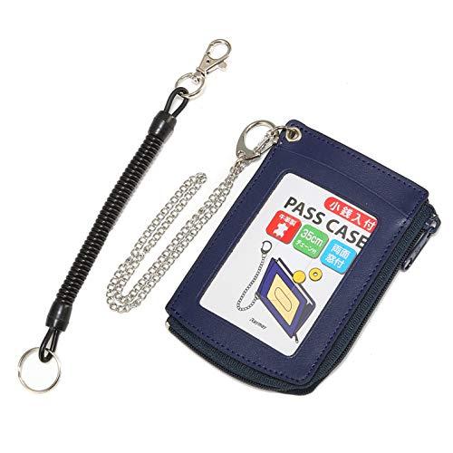 牛革 定期入れ コイルandスチール2種類のチェーン付パスケース カードケース 小銭入れ付 (ネイビー)