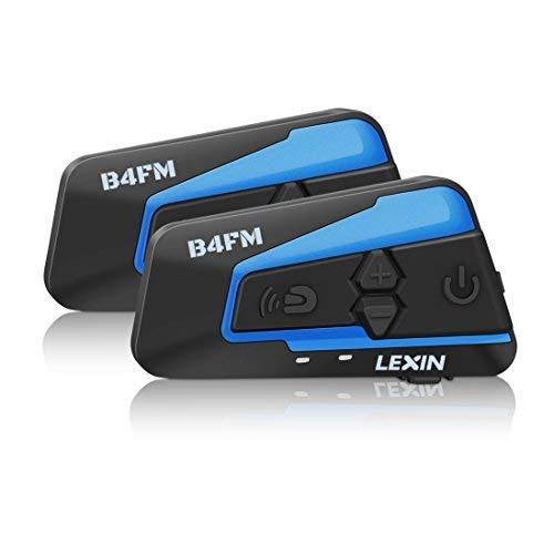 LEXIN インカム バイク bluetoothインターフォン 2機セット 4台接続 4riders同時通話 受信可能 ステレオ音楽 FM機能 2種類マイク 無線機インターコム 日本語取説 B4FM