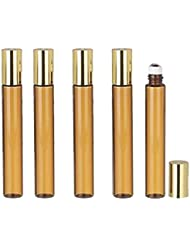 Grand Parfums 6 Pcs Thin Tall Amber Glass Brown 10ml Roll on Bottle with Gold Metallic Caps for Essential Oil...