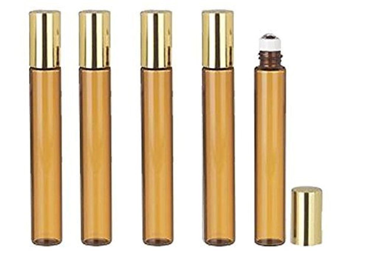強いますハーブ手がかりGrand Parfums 6 Pcs Thin Tall Amber Glass Brown 10ml Roll on Bottle with Gold Metallic Caps for Essential Oil...
