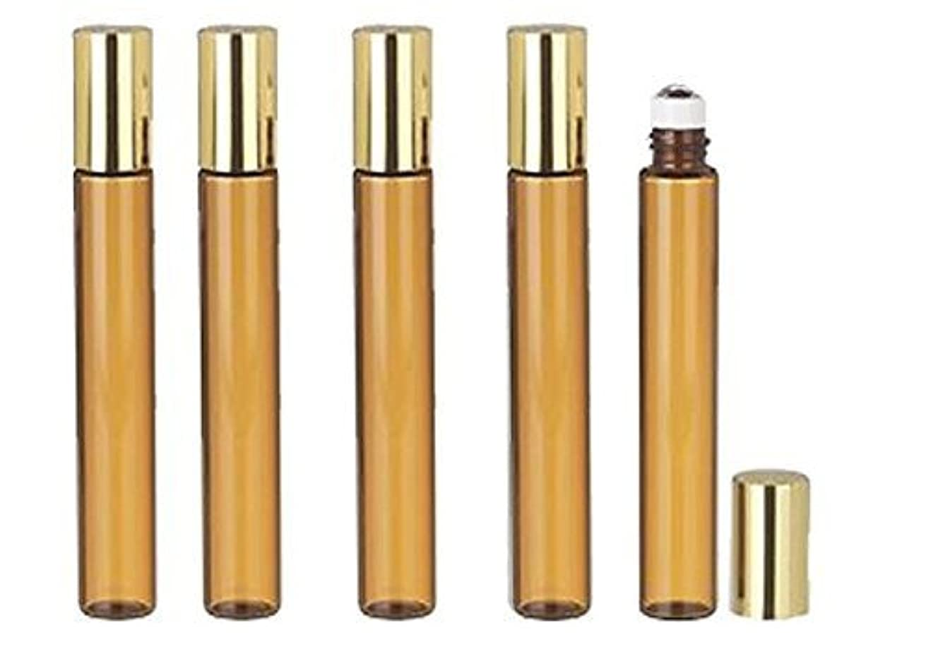 登録軽食補うGrand Parfums 6 Pcs Thin Tall Amber Glass Brown 10ml Roll on Bottle with Gold Metallic Caps for Essential Oil...