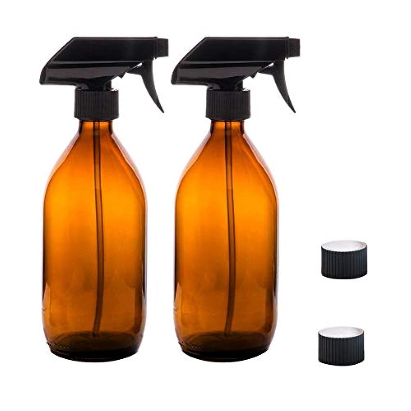司書家庭教師ハイブリッドRagem スプレーボトル 霧吹き スプレー 500ml 遮光 極細のミスト 保湿スプレー 容器 植物水やり BPAフリー 2点セット ブラウン