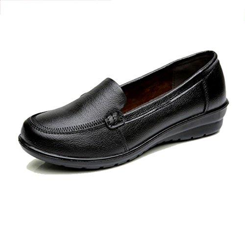 [QIFENGDIANZI] パンプス レディース モカシン デッキシューズ 婦人靴 べたんこ ローファー フラットシューズ 母へ プレゼント 軽量 柔らか 履き心地良い 美脚 大きいサイズ 黒 22.5cm