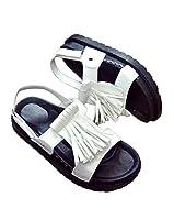 [ジャンーウェ]レディース サンダル 夏 ローマ風 フリンジ フラットサンダル 厚底 カジュアル ファッション マジックテープ ホワイト24