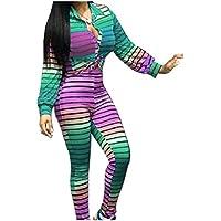 GodeyesW 女性のストライプのワークアウトの2つの部分ネクタイ染めスーツズボンのセット