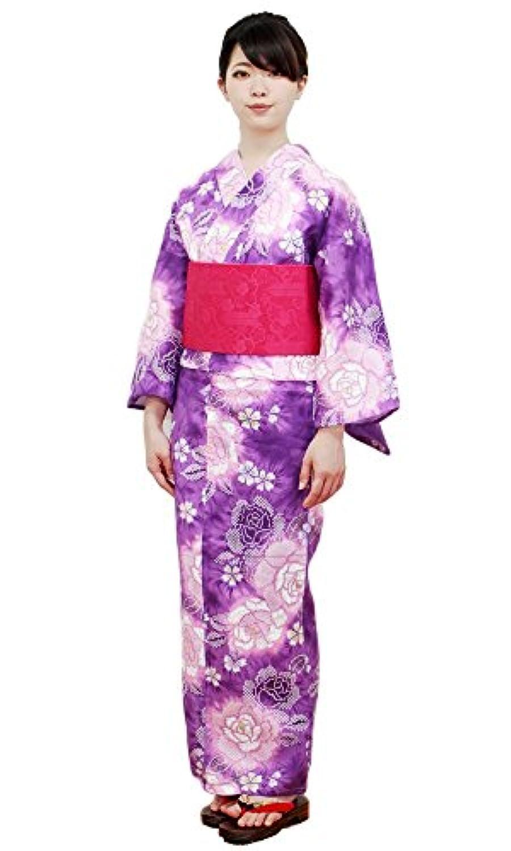 【レディース浴衣3点セット】【明るい紫系/赤系 / 染絞り薔薇の柄】浴衣 半幅小袋帯 桐下駄 変わり織