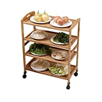 家族鍋レストラン食器棚多層棚ラック木製の床プーリー取り外し可能なキッチンダイニングカートカート野菜ラック