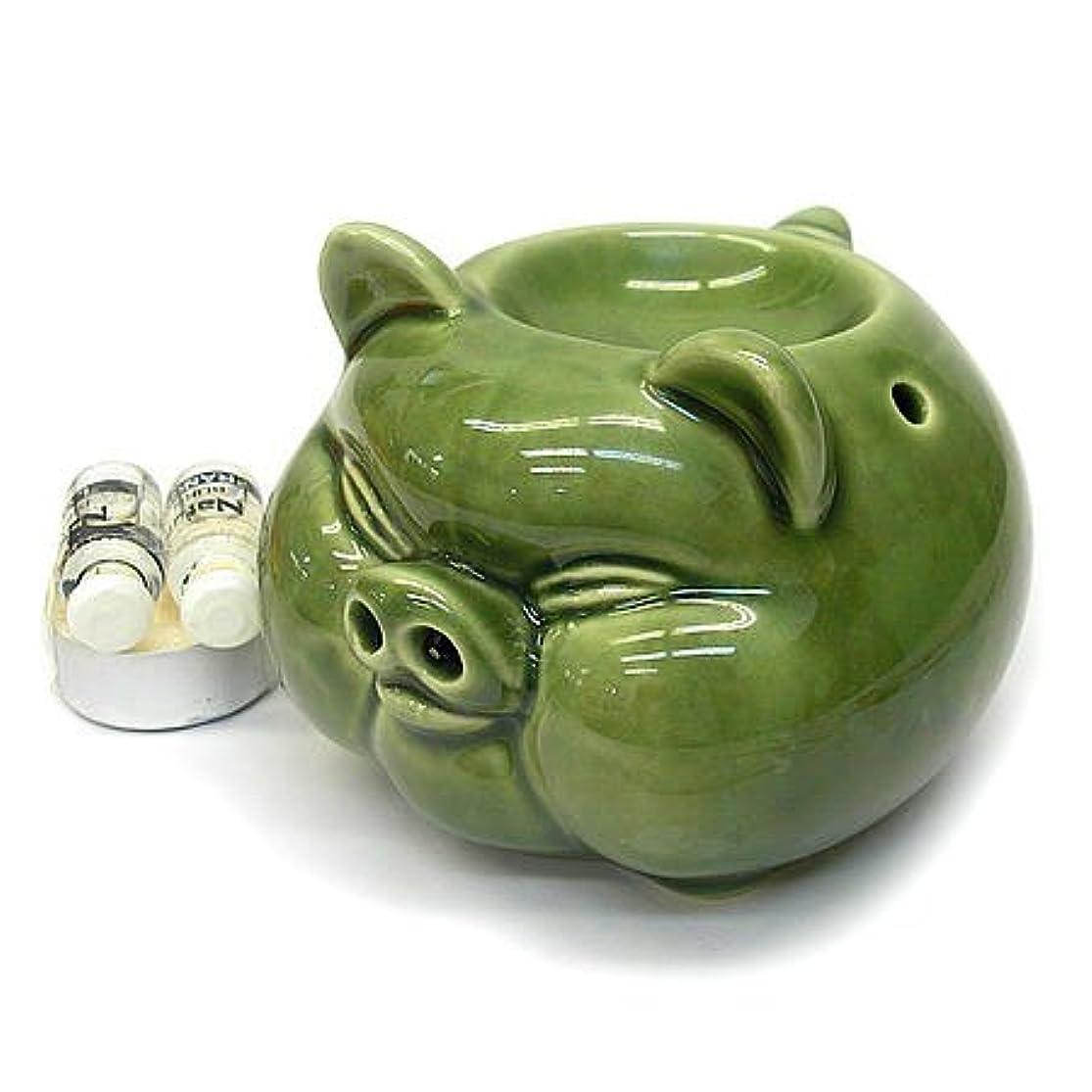 ライオン発表する吸収するアジアン雑貨 バリ雑貨 アロマ オイルバーナー ブタ君 アロマオイル 2種付き
