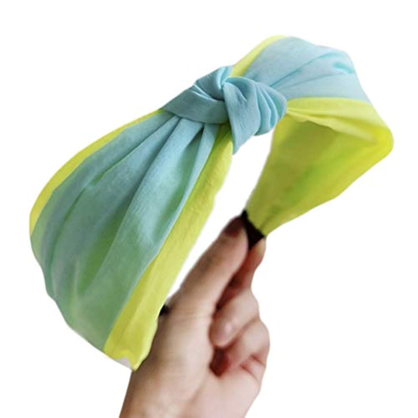 ほめる抜け目のない教科書RousZL ボヘミアン女性の女の子ワイドカチューシャ甘いキャンディーヘアフープ蛍光カラーブロック手作りちょう結び夏パーティー帽子
