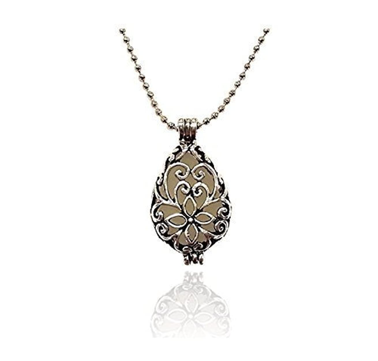 スロベニア建築家主人Silver tone Teardrop Small Aromatherapy Necklace Essential Oil Diffuser Locket Pendant Jewelry w/reusable felt...