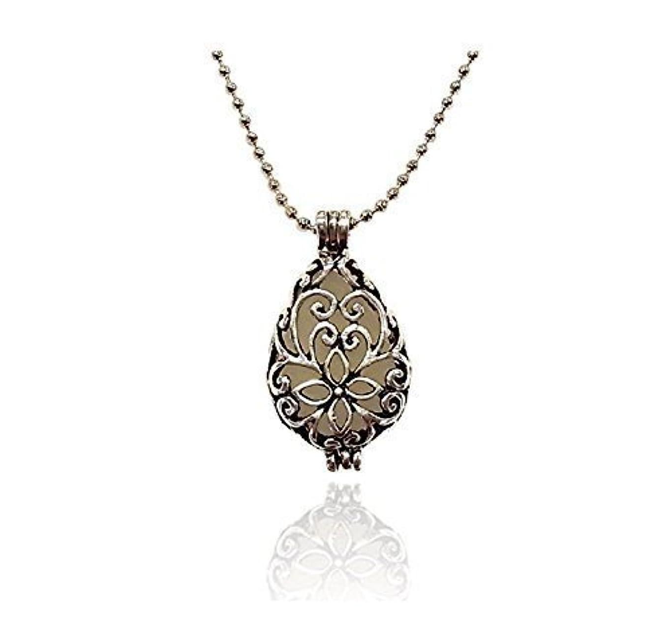 羊状先生Silver tone Teardrop Small Aromatherapy Necklace Essential Oil Diffuser Locket Pendant Jewelry w/reusable felt...