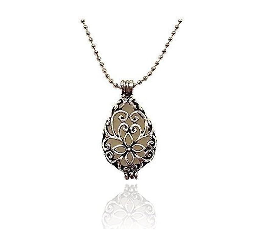 受け取る作家デコードするSilver tone Teardrop Small Aromatherapy Necklace Essential Oil Diffuser Locket Pendant Jewelry w/reusable felt...