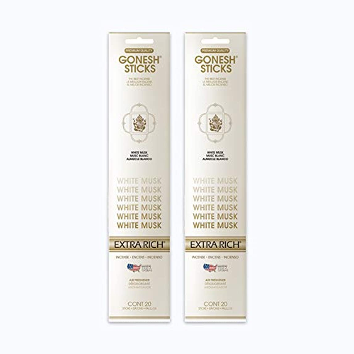 高尚なステッチマトリックスGONESH インセンススティック WHITE MUSK ホワイトムスク 2パック40本組