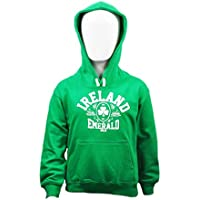 Kids Pullover Hoodie With Ireland Emerald Isle Print, Kelly Green Colour