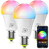 HaoDeng WiFi LED Light, 3Pack Smart Bulb -Timer& Sunrise& Sunset- Dimmable, Multicolor, Warm White (Color Changing Disco Ball Lamp) - 7W A19 E27(60W Equivalent), Compatible with Alexa, Google Home Assistant and IFTTT