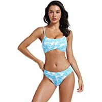 AS ROSE RICH Women's 2 Piece Swimsuit Push Up Padding Top High Waist V Style Bottom Leaf Print Bikini Set