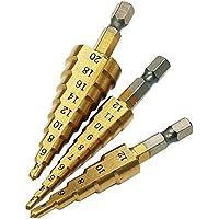 Amyou 3本メートルメッシュHSS鋼4241チタンコーンドリルビットコニカルチップツールセット穴用