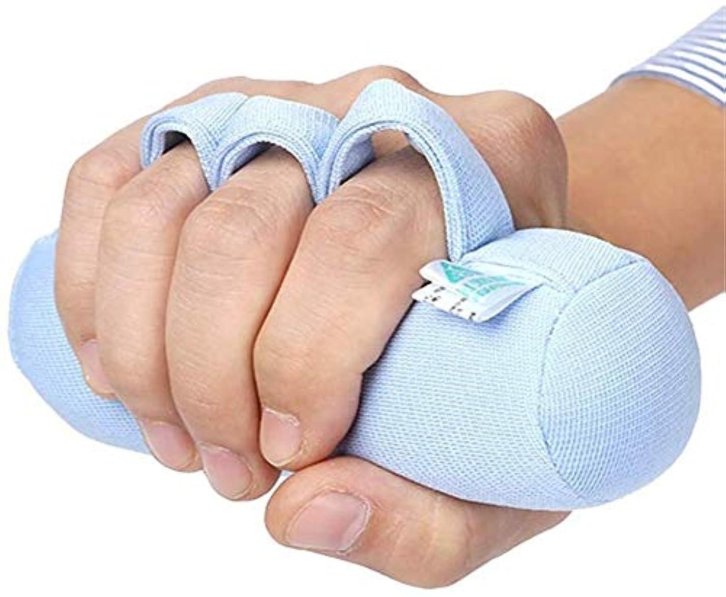 麻痺させる拡散するコンチネンタルフィンガーセパレーターハンド拘縮装具、フィンガーブレース、トリガーフィンガー用スプリント、ベッド患者抗デ瘡ケアパッド、右手/左手に適した高齢者の指スリーブ