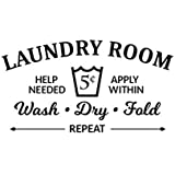 Nrpfell Laundry Room Rules Wash Dry Fold Vinyl Wall Sticker Decor Decal Bathroom