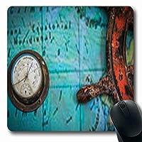 マウスパッドライトオールドヴィンテージバロメーターホワイトメイドフランスアタッチドアブストラクトステアリング楕円形7.9 X 9.5インチ長方形ゲームマウスパッド滑り止めラバーマット