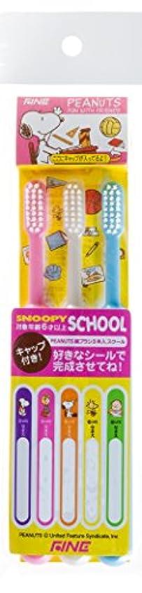 緑連鎖猫背ピーナッツ スクール 歯ブラシ 3本組 キャップ付 6歳以上