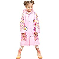 Kids Raincoat Poncho Waterproof Rain Jacket - Girls Boys Hooded Rainwear Rain Cape Reusable Rain Suits Slicker with Backpack space for School Traveling Outdoors Sports Camping
