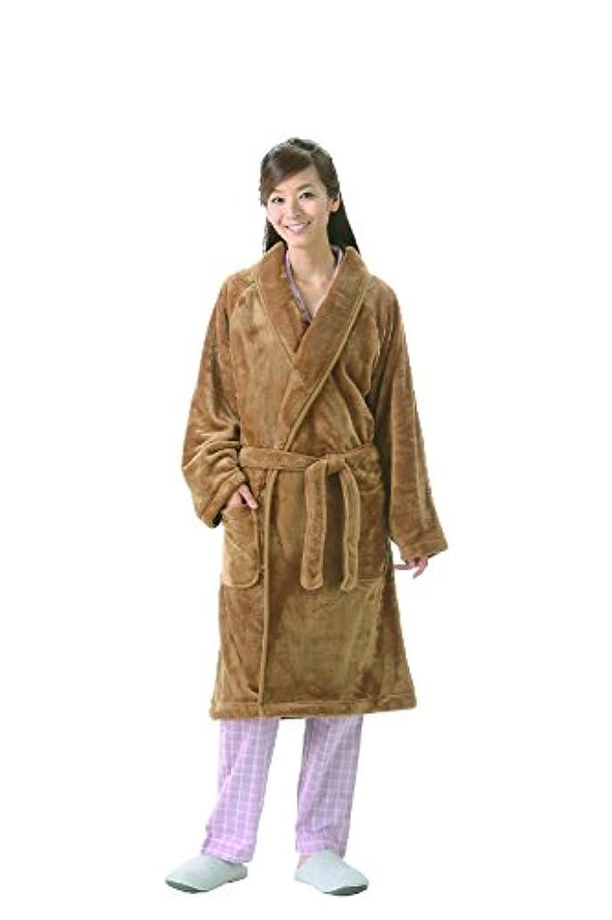 絞るインカ帝国第着る毛布 暖かガウン キャメル M~L 男女兼用