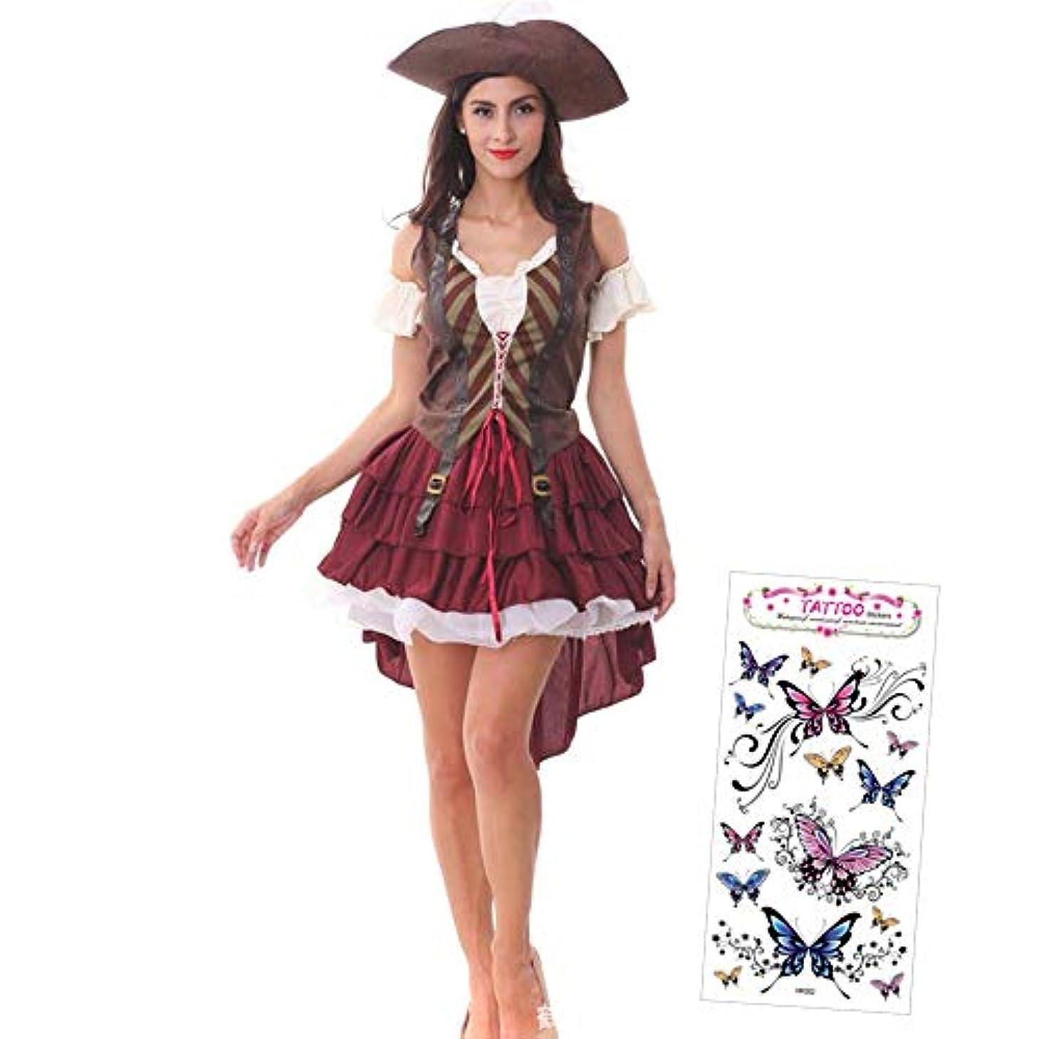 メンタリティ枯渇する昨日AuraAei 海賊 コスプレ 大人 レディース 女性 ハロウィン 大きいサイズ パイレーツ 帽子 仮装 コスチューム (タトゥーシール付き) (フリー)