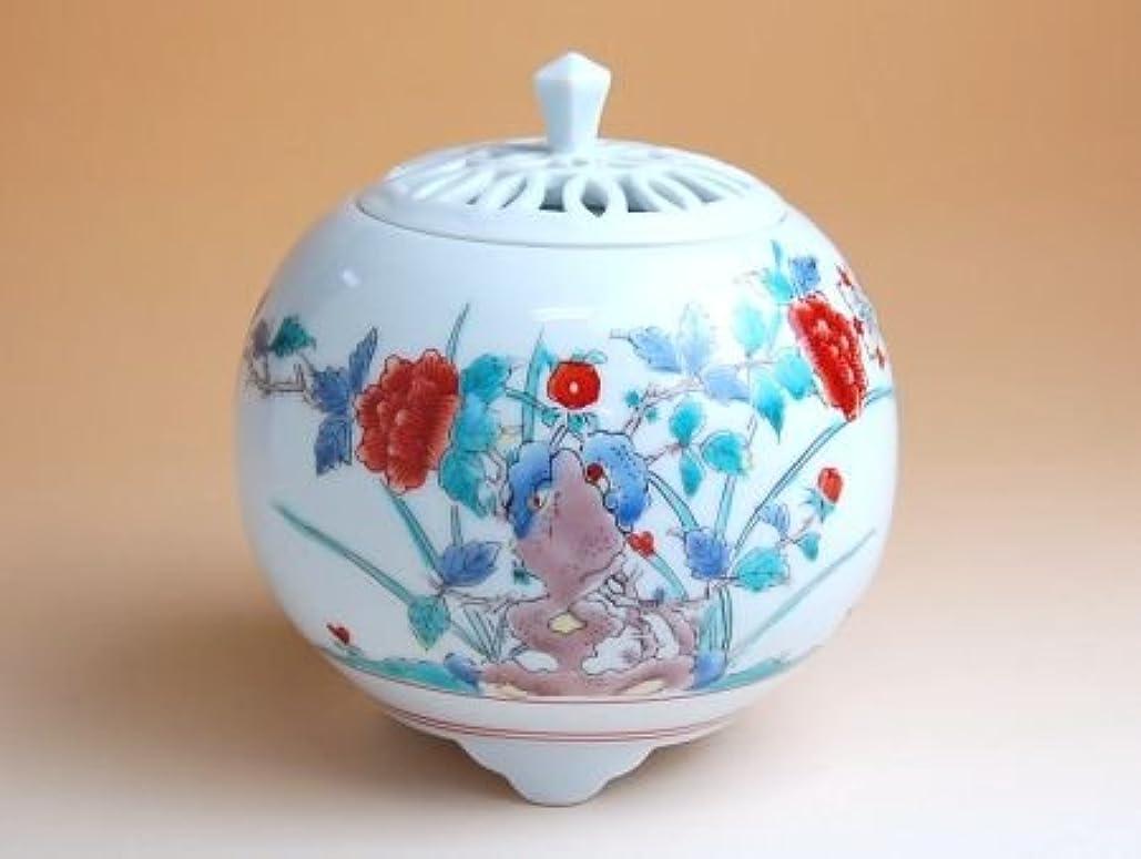 柔らかいいつかお風呂を持っている有田焼 錦牡丹 丸香炉(木箱付)【サイズ】高さ12cm