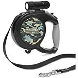 DaZone Retractable Dog Lead, Extendable Dog Walking Lead with LED Flashlight, Comfortable Ergonomic Hand Grip, One Button Brake & Lock and Hook