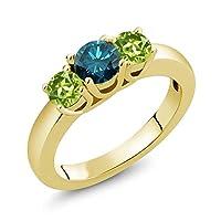 Gem Stone King 1.15カラット 天然 ブルーダイヤモンド 天然石 ペリドット シルバー925 イエローゴールドコーティング 指輪 リング