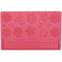 Flower Impression Mat, Chokov Flower Pinwheel Fondant and Gum Paste Silicone Mould with Lace Cake Decoration Candy Sugarcraft Tool - Pink