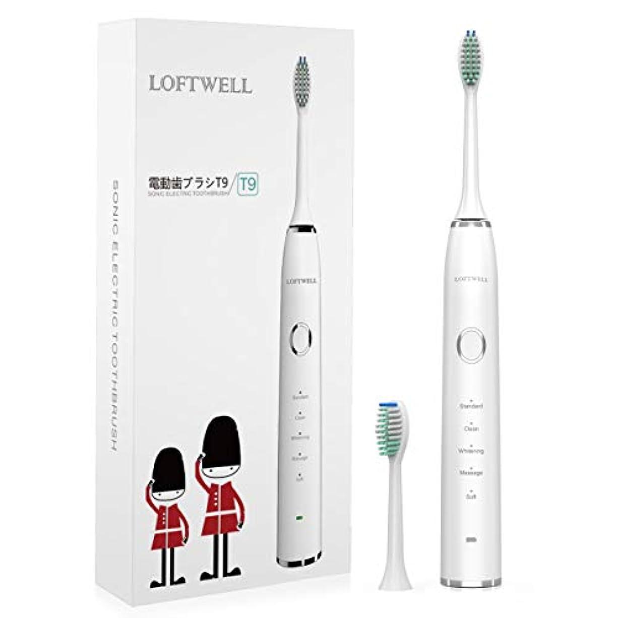 進むウィスキー理論的Loftwell 電動歯ブラシ 1回充電90日長持ち 超音波歯ブラシ 5つモード 歯ブラシ IPX7防水 音波振動歯ブラシ 1年間保証 電動歯ブラシ T9 (最新版) (クリア)