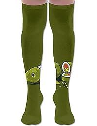 ソフト 65CM 靴下 オーバーニー ハイソックス ロングニーハイ 口ゴムゆったり ビジネスソックス 寿司 魚 3Dプリント 防寒 フットサポート付き フィットネス 美脚 脚長効果抜群 ファッション
