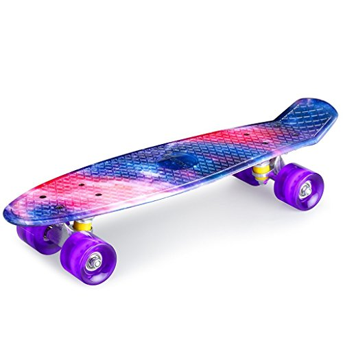 recommended for skateboarding enkeeo 22-inch Cruiser ABEC7 bearings precision concentration or equilibrium sense training beginner, youth/adults / children's birthday gifts Galaxy YWHB-27 [warranty]