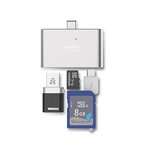 カードリーダー Asltoy® 5 in 1 USB3.1 Type C カードリーダー USB-A-Micro Type C 多機能カードリーダー OTG機能 USBハブ メモリカードリーダライタ micro USB SD/TFカード対応 一体型 (シルバー B)
