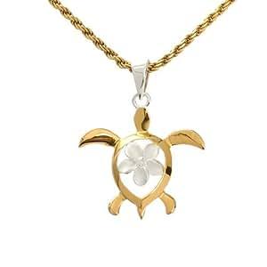 BreezyIsland ハワイアンジュエリー ペンダント 「ホヌ&プルメリア ゴールドトーン」 永遠の愛と幸福を運んできてくれるホヌ Silver925