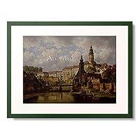 Havranek, Bedrich,1821-1899 「Am Moldau-Ufer in Bohmisch-Krummau. 1882」 額装アート作品