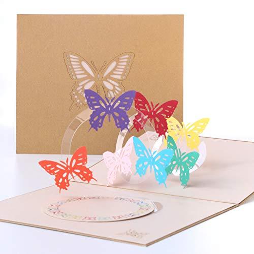 Paper Spiritz グリーティングカード 「バタフライ」 ポップアップカード 誕生日カード 感謝状 封筒付き