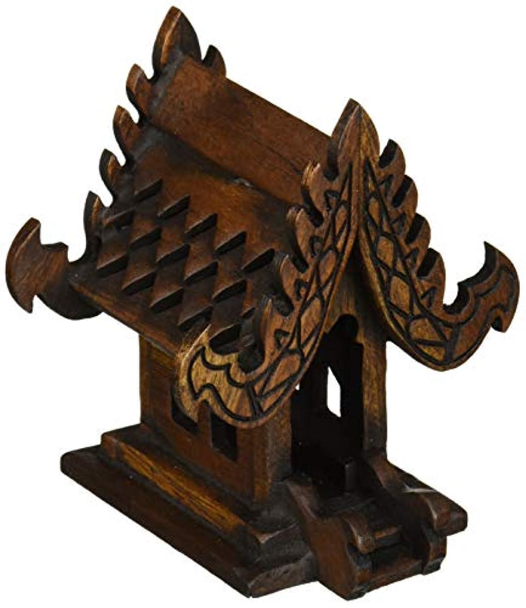 すごいとげのある長老デザインunseenthailandタイ仏教でハンドメイドチーク材木製Spirit家。 W4