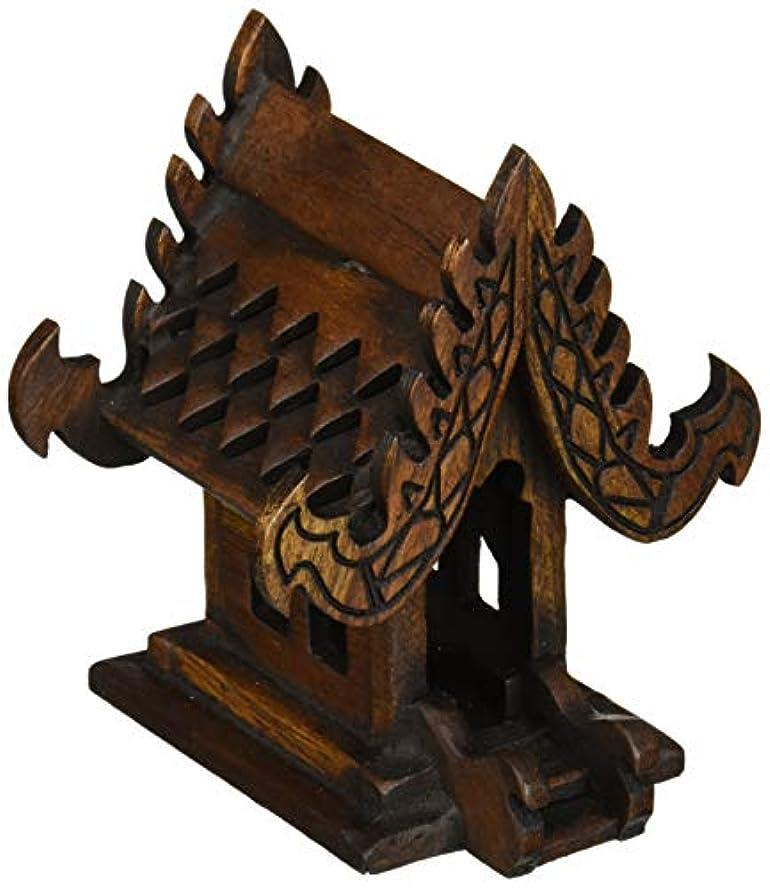 きょうだいテキスト塗抹デザインunseenthailandタイ仏教でハンドメイドチーク材木製Spirit家。 W4